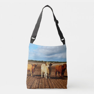 Three Naughty Highland Cows, Unisex Crossbody Bag. Crossbody Bag