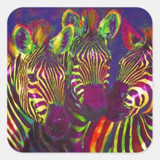 three neon zebras square sticker