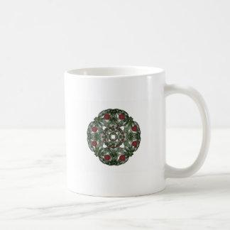 Three Nested Fractal Art Christmas Wreaths Mugs