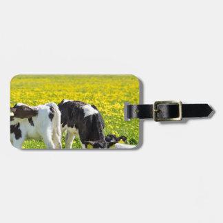 Three newborn calfs in spring dandelions meadow luggage tag