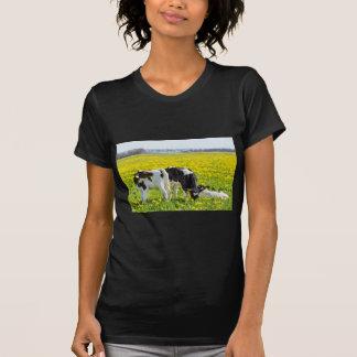 Three newborn calfs in spring dandelions meadow T-Shirt