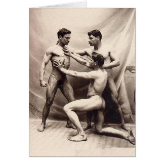 Three Nude Vintage Men Card