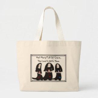 "Three Nuns Kneeling ""Hail Mary Full Of Grace"" Large Tote Bag"