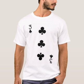 Three of Clubs Playing Card T-Shirt
