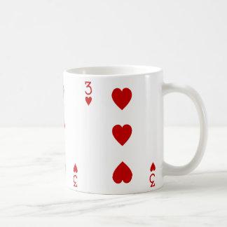 Three of Hearts Playing Card Coffee Mug