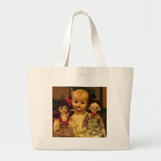 Three Old Dolls Large Tote Bag