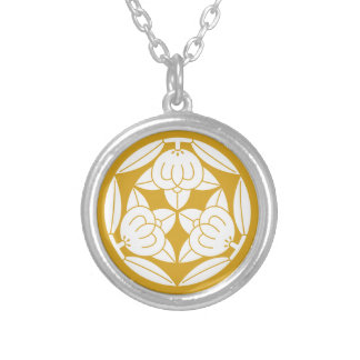 Three oranges silver plated necklace