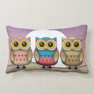 Three Owl and a Moon Cute Throw Pillow