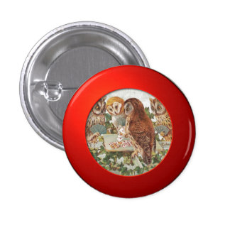 Three owls 1 inch round button