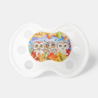 three owls autumn pacifiers
