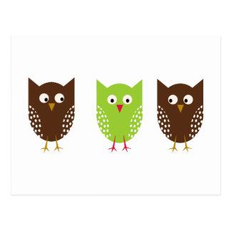 Three Owls Christmas Postcard