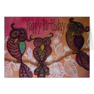 Three owls happy birthday card