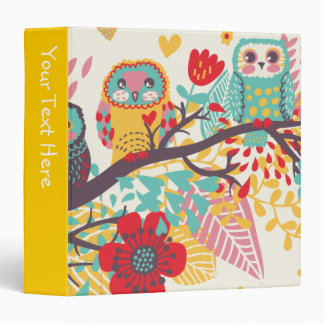 Three Owls on a Branch 3 Ring Binders
