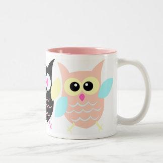Three owls Two-Tone coffee mug
