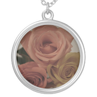three pale roses Colored in vintage shades Silver Plated Necklace