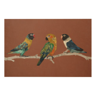 THREE PARAKEETS Wooden Canvas Wood Print