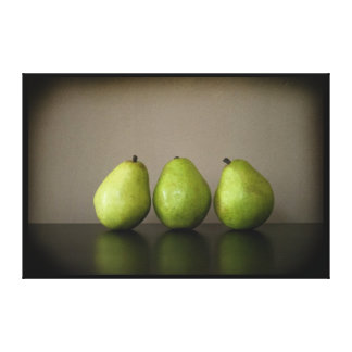 Three pears still life photograph on canvas