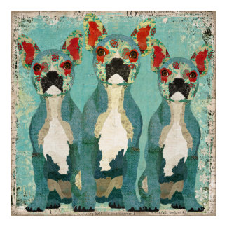 Three Peeking French Bulldogs Art Poster