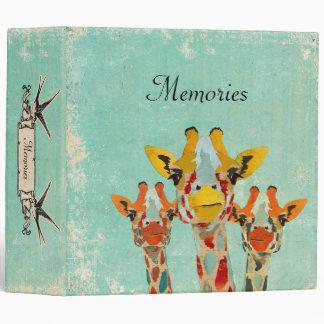 Three  Peeking Giraffes  Album 3 Ring Binders