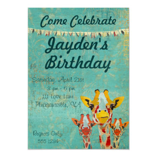 Three Peeking  Giraffes  Birthday Invitation