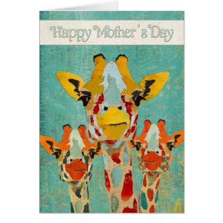 Three Peeking Giraffes Mother's Day  Card