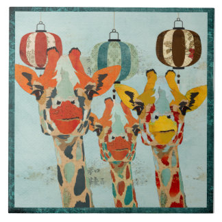 Three Peeking Giraffes  Tile