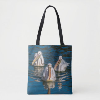 Three pelicans all-over-print tote bag