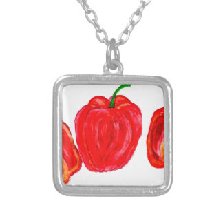 Three Peppers Art Silver Plated Necklace
