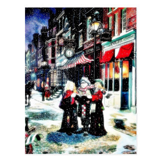 Three persons standing on a street singing christm postcards
