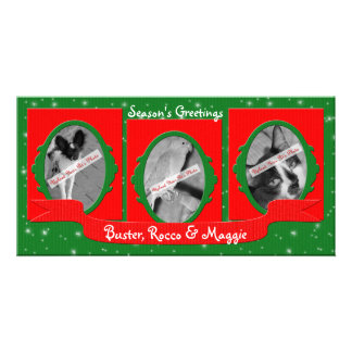 Three Pet Holiday Personalized Photo Card