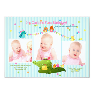 Three Photo Birthday Party Invitation