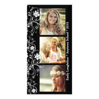Three Photo Black White Floral Graduation Custom Photo Card
