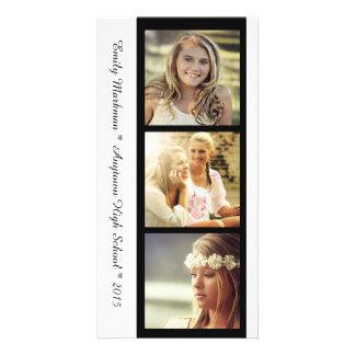Three Photo Black White Graduation Announcement Photo Card