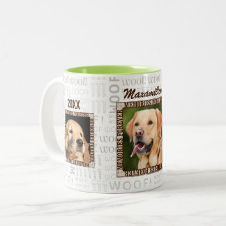 Three Photo Dog Lover Pet Memorial in Brown Tones Two-Tone Coffee Mug