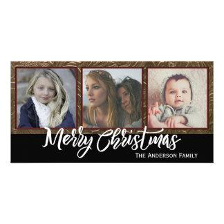Three Photo Merry Christmas Photo Card Template