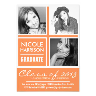 Three Photo Nectarine Orange 2013 Graduation Party Custom Announcements