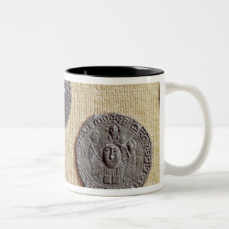 Three pilgrimage plaques of St. Jean d'Amiens Two-Tone Coffee Mug