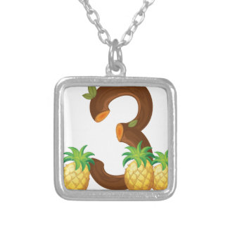 Three pineapples silver plated necklace