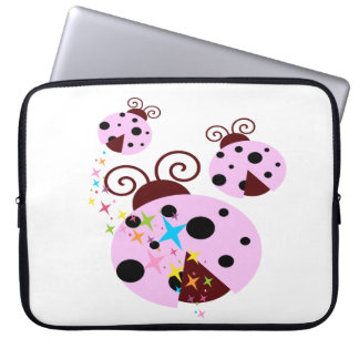 Three pink and black ladybug with stars laptop sleeve