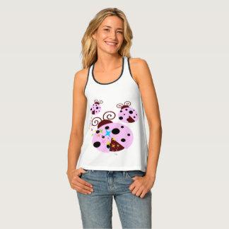 Three pink and black ladybug with stars tank top