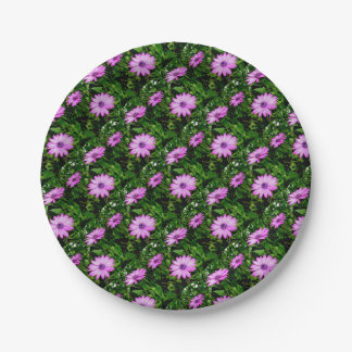 Three Pink Daisy Flowers 7 Inch Paper Plate