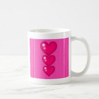 Three Pink Hearts (valentine's Day) Classic White Coffee Mug