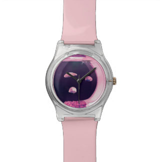 Three Pink Jellyfish Fish Tank Adjustable Watch