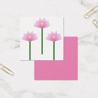 Three Pink Lotus flowers on green stems Square Business Card