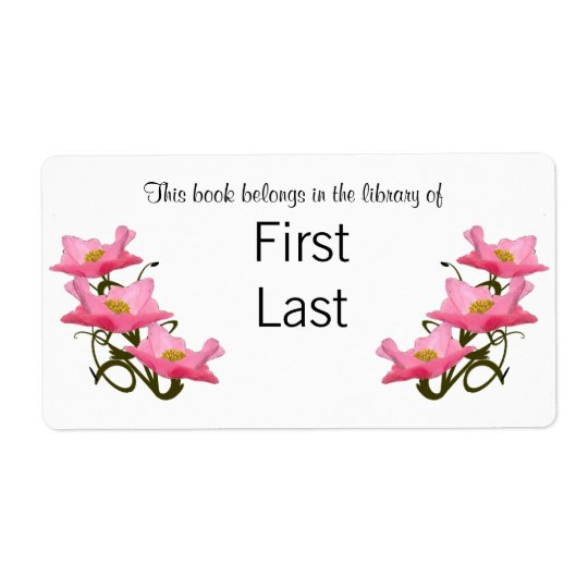 Three Pink Poppies Borders Bookplate Shipping Label