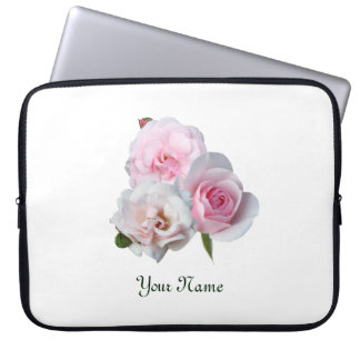 Three pink roses. Add your text. Laptop Sleeve