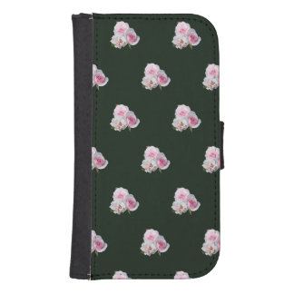 Three pink roses. Floral pattern. Samsung S4 Wallet Case