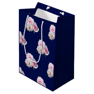Three pink roses. medium gift bag