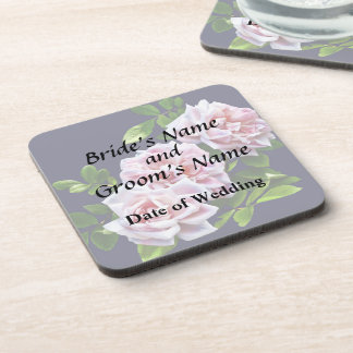 Three Pink Roses With Leaves Beverage Coasters