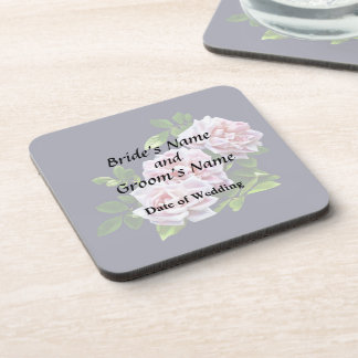 Three Pink Roses With Leaves Coasters
